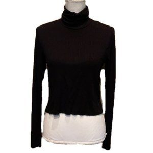 Michael Lauren Cropped Turtleneck Ribbed NWT
